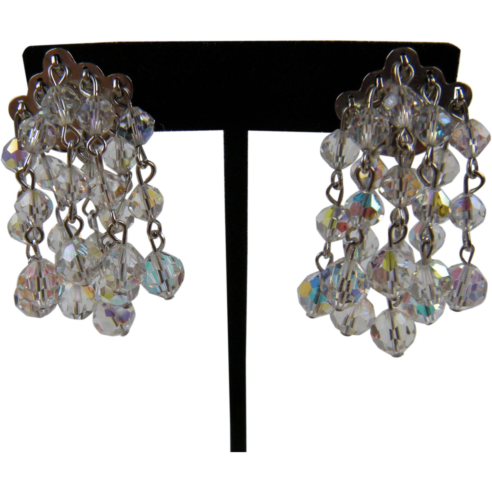 Signed CORO Dangling Crystals Clip Earrings