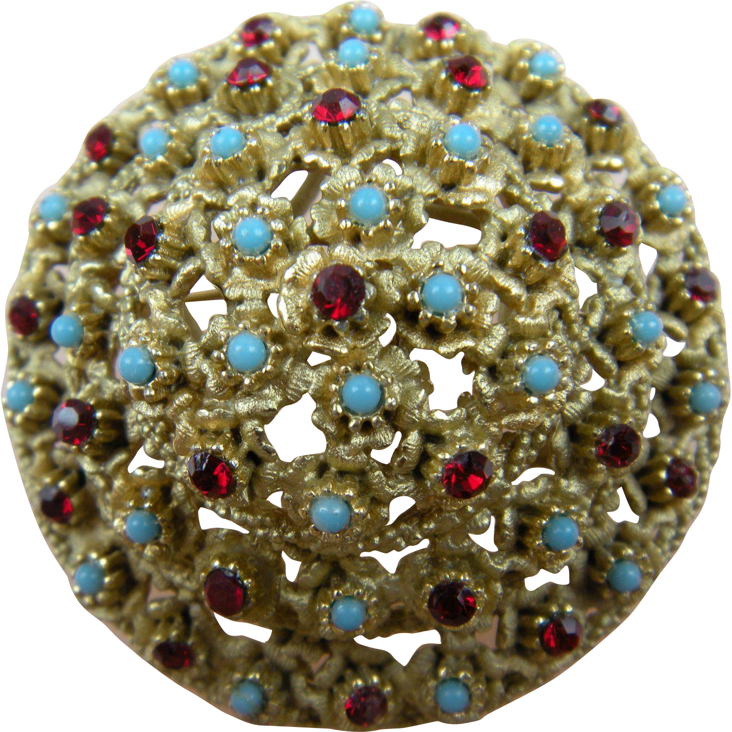 Domed brooch with Ruby Rhinestones and Imitation Turquoise Cabochons