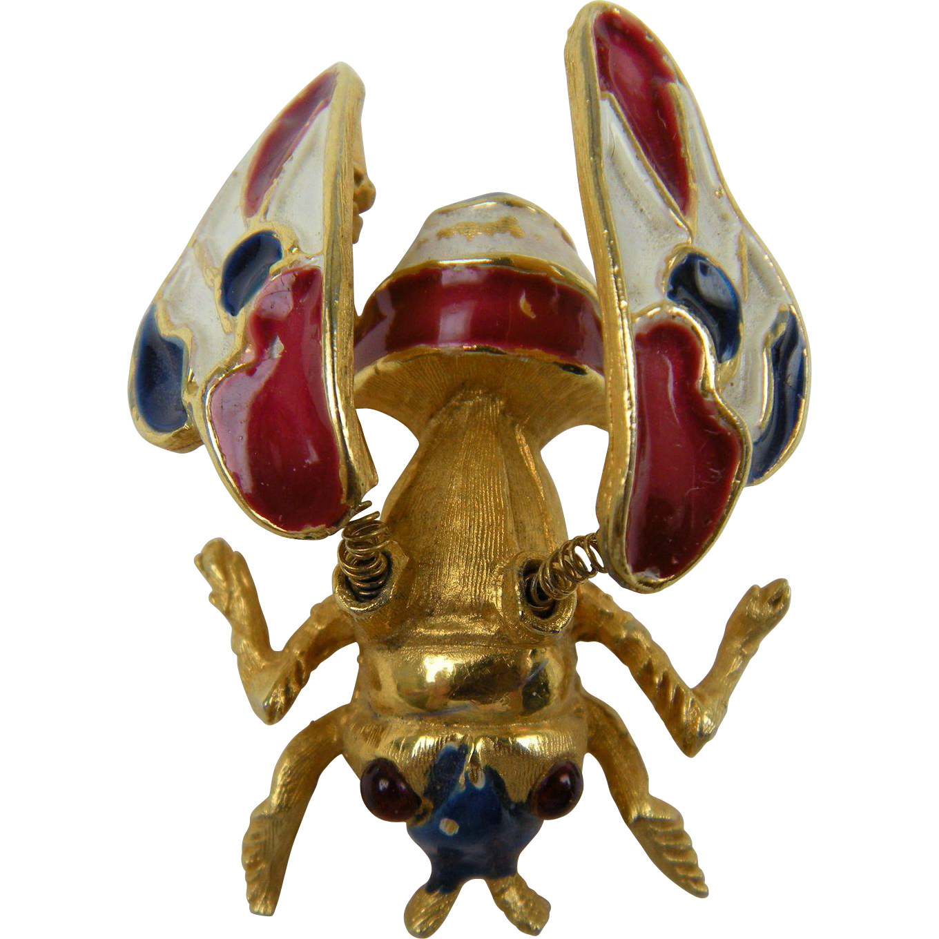 Red, White, and Blue Trembler Bee Brooch