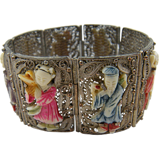 Chinese Import Bracelet with Carved Figures Fabulous!