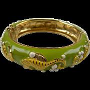 Enameled Sea Horse Bangle Bracelet
