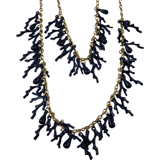 Extra Long Double Strand Blue Coral Necklace