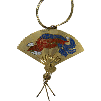 Detailed Asian Fan Pendant Opens and Closes