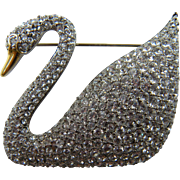 Iconic Swarovski Swan Brooch Book Piece