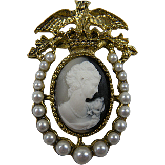 Lovely Faux Cameo Brooch with Imitation Pearls