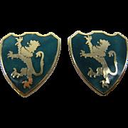 Heraldic Lion Rampant Shield Clip Earrings