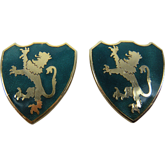 Heraldic Lion Rampant Shield Clip Earrings