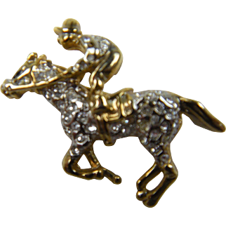 Rhinestone Jockey with Horse Pin