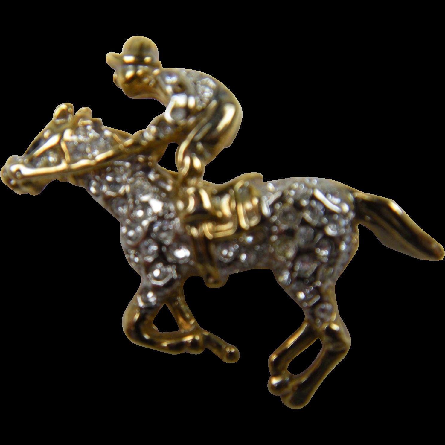 Rhinestone Jockey with Horse Pin