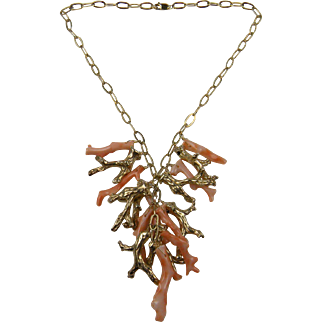 Signed Sterling Necklace with Gold Plated Coral Charms