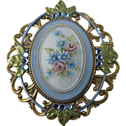 Pretty Painted Brooch with Filigree Setting