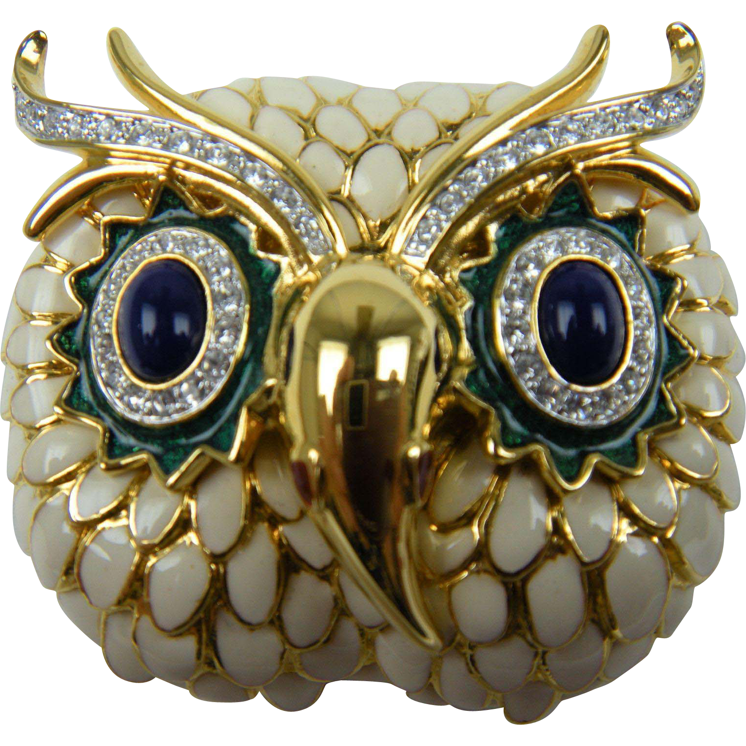 Signed Kenneth Lane KJL Owl Brooch Book Piece