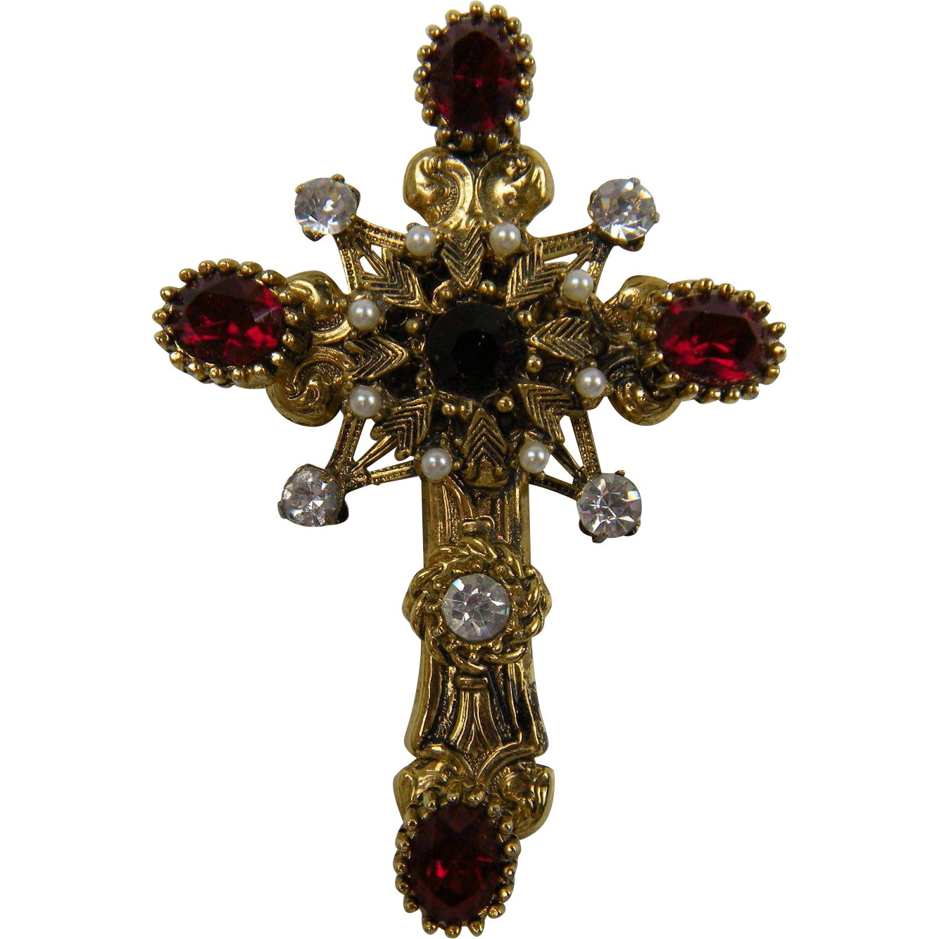 Rhinestone and Imitation Pearl Gold Plated Cross Brooch/Pendant
