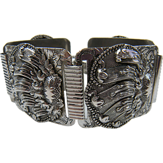 Extra Wide Silver Tone Link Bracelet