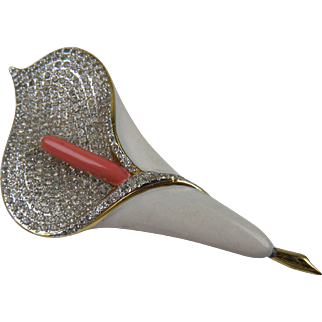 Exquisite Signed VALENTINO Calla Lily Brooch Huge
