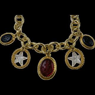 Fabulous Signed TRIFARI Nautical Themed Charm Necklace