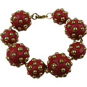 Haute Couture Bracelet Huge Spheres with Gold Studs