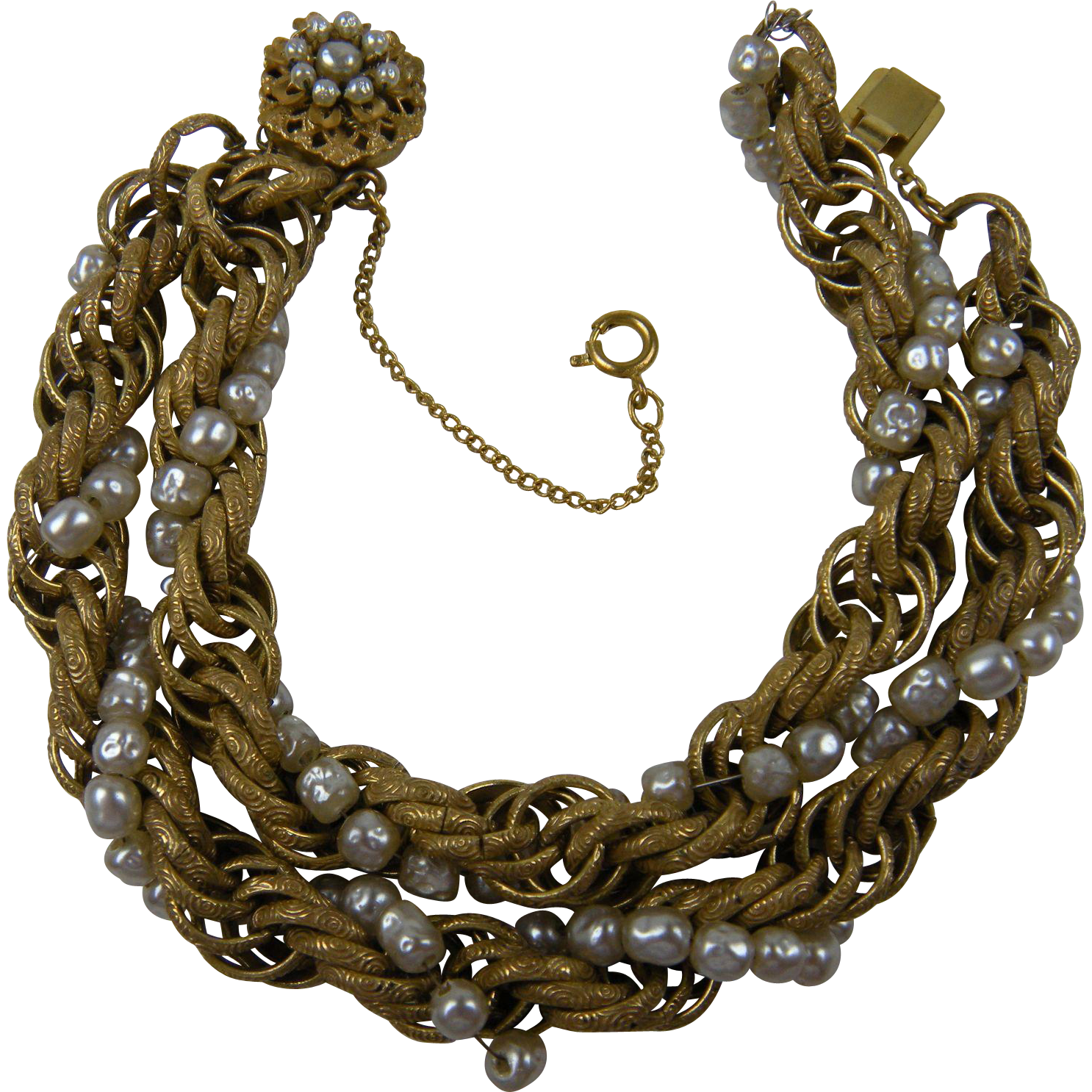 Signed MIRIAM HASKELL Double Strand Gold Plated Links and Pearl Bracelet