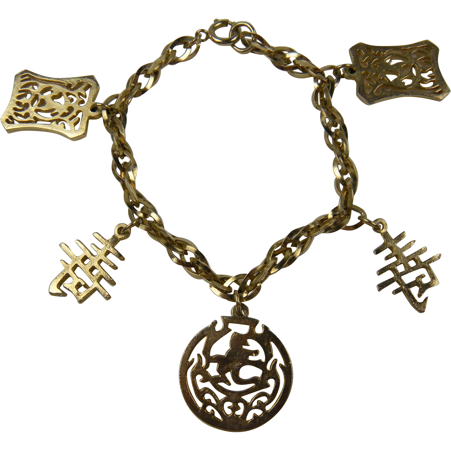 Gold Plated Asian-Themed Charm Bracelet