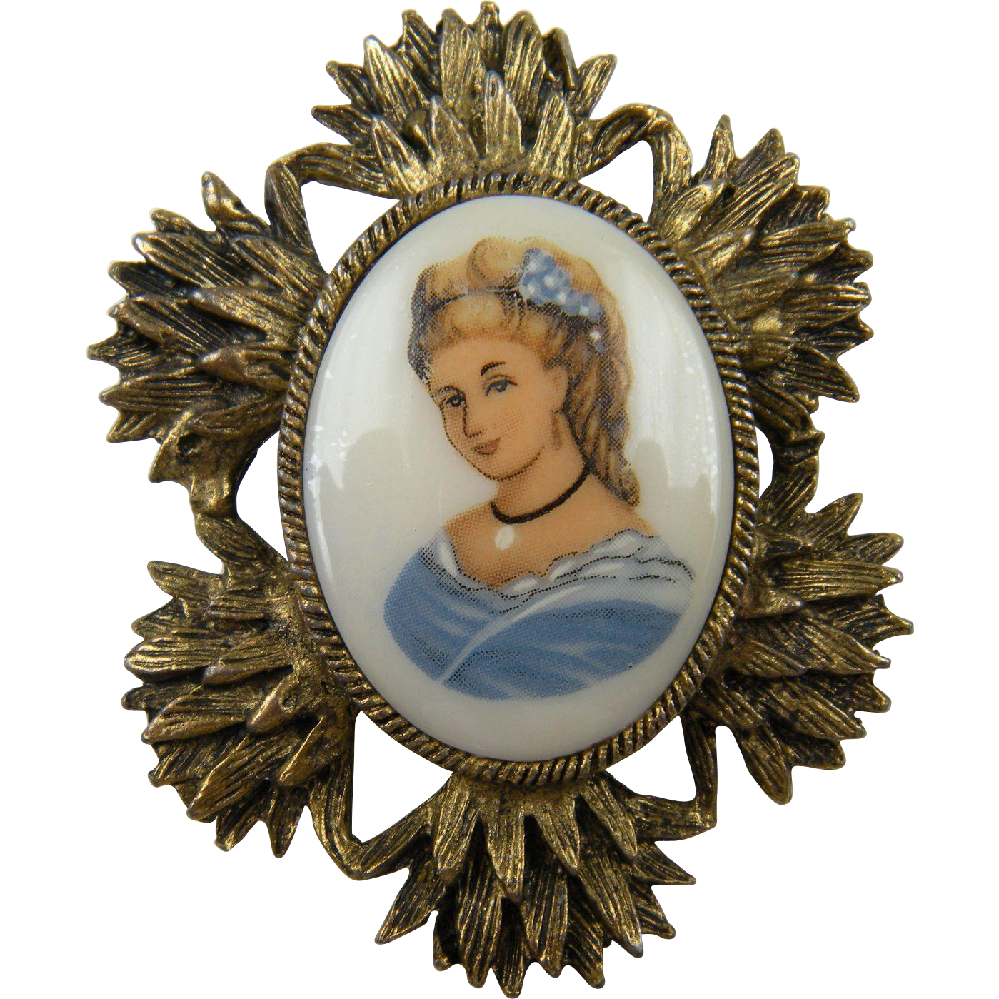 Painted Porcelain Cameo Brooch