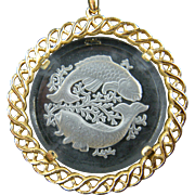 Signed TRIFARI Pisces Pendant Necklace