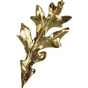 Huge Gold Plated Oak Leaf Brooch and Pendant