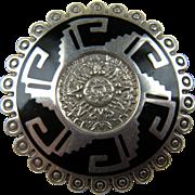 Sterling Silver Mayan Calendar Brooch
