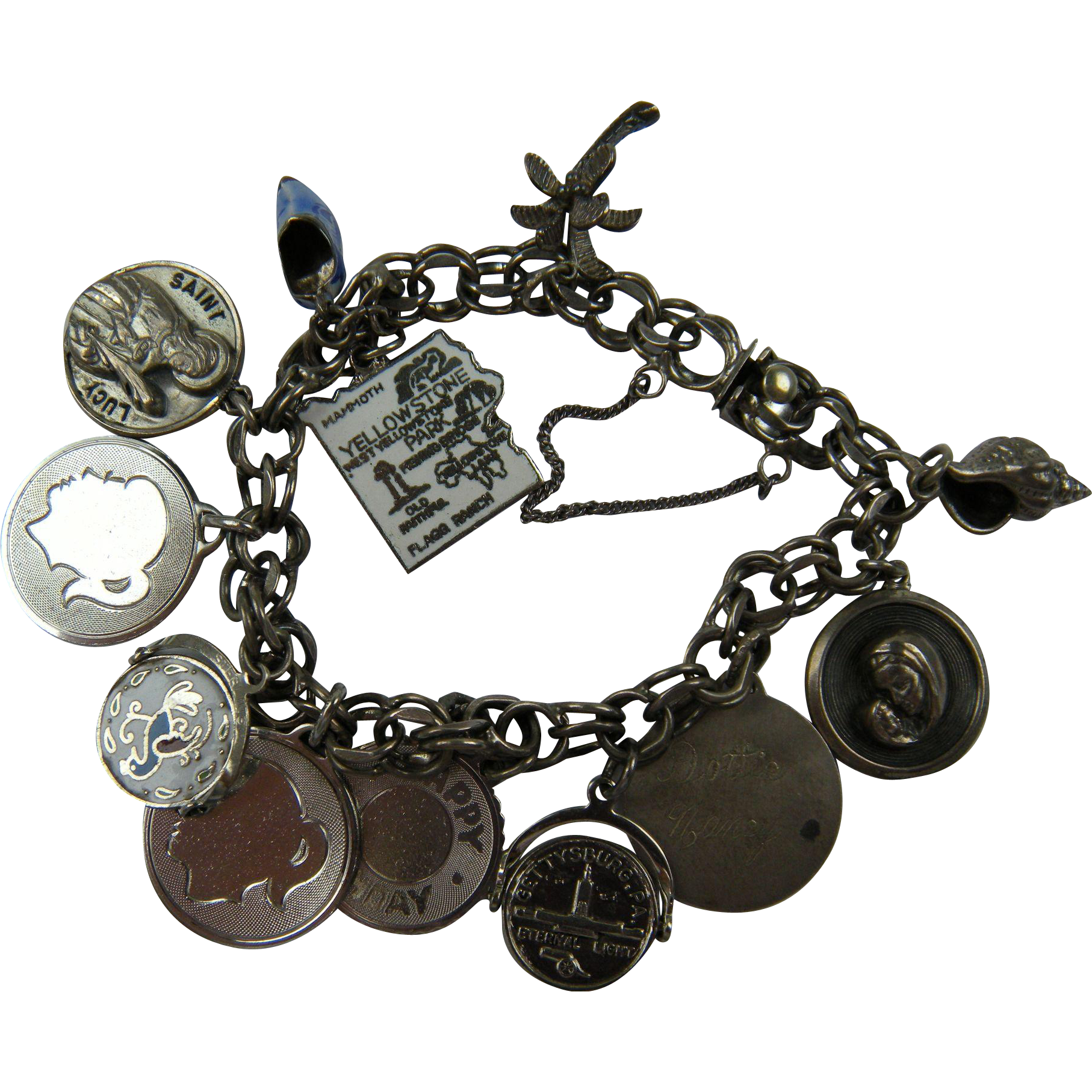 Loaded Sterling Silver Charm Bracelet 12 Charms