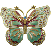 Huge Signed KJL Kenneth Jay Lane Enameled and Rhinestone Butterfly Brooch