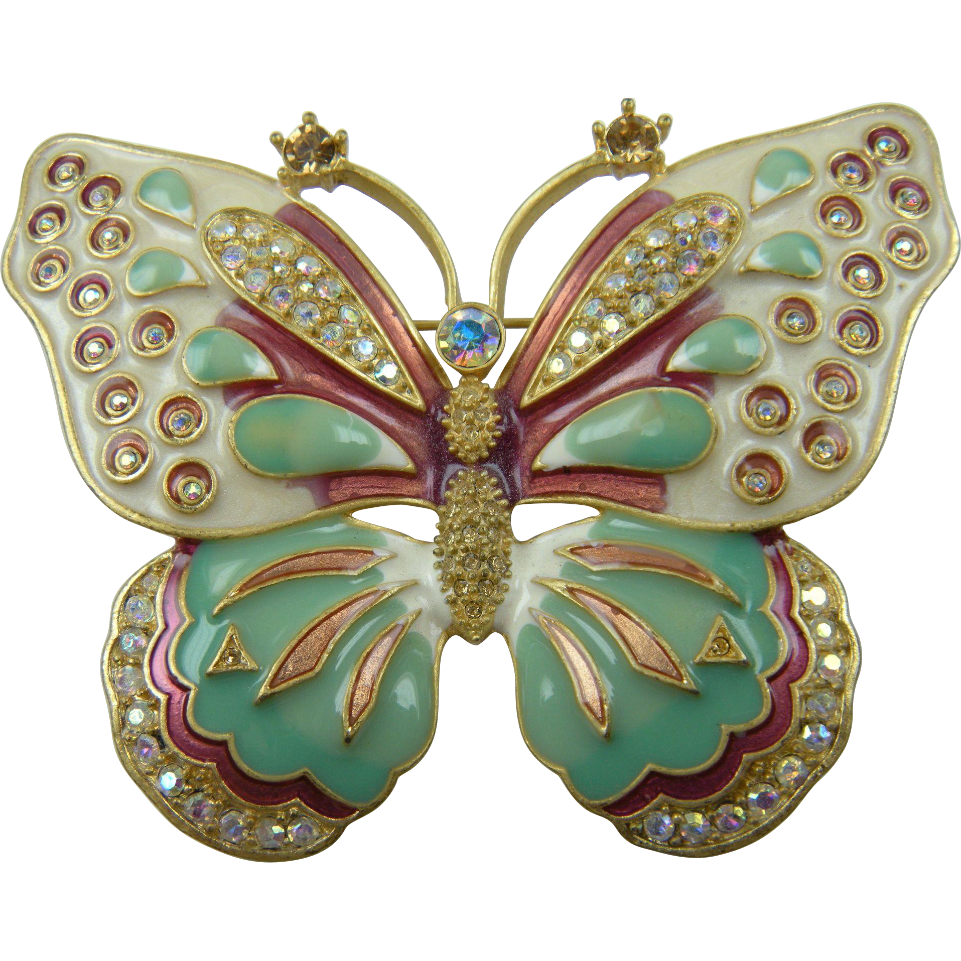 RESERVED FOR M Huge Signed KJL Kenneth Jay Lane Enameled and Rhinestone Butterfly Brooch