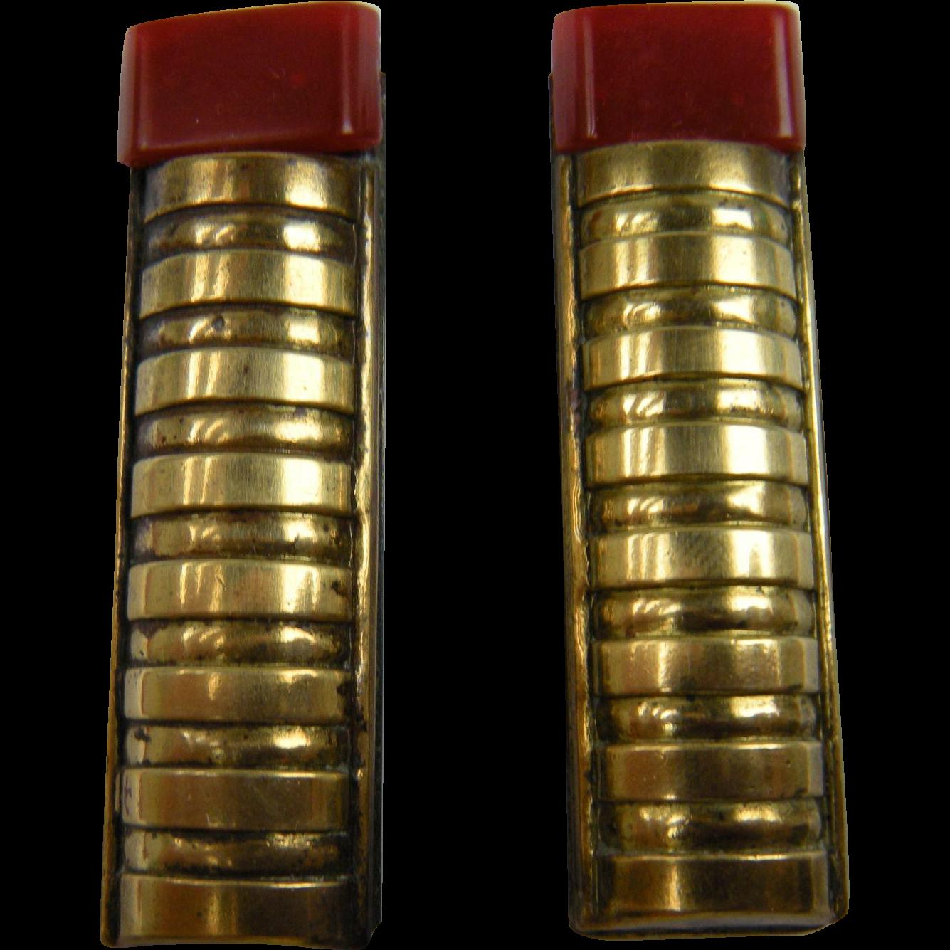 "Pair of 1930's ""Lipstick"" Dress Clips"
