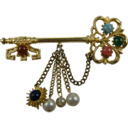 1950's Key Brooch with Dangles