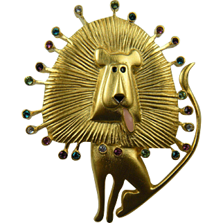Whimsical Lion Brooch Signed Bob Mackie Fun Figural