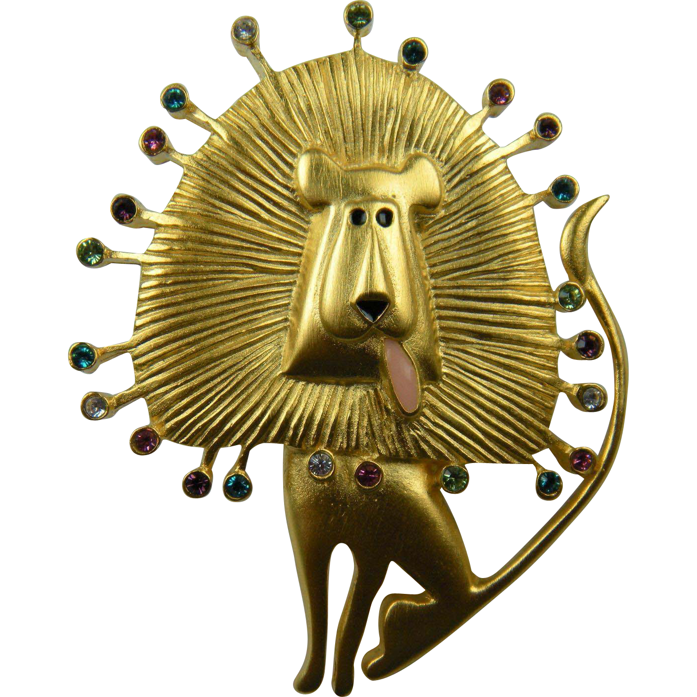 Whimsical Lion Brooch Signed Bob Mackie Fun Figural
