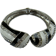 Chunky Rhinestone Clamper Bracelet with Enameled Accents