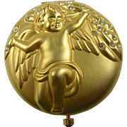 Signed Estee Lauder Compact Discontinued Limited Edition Cherub Angel Birthstone January Crystal Garnet Pressed Powder Compact