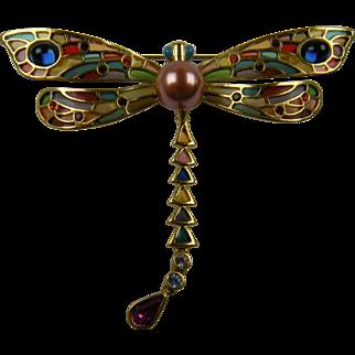 Huge Signed Dragonfly Brooch