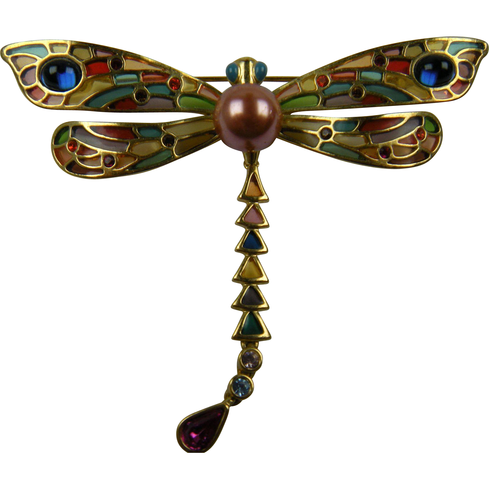 Huge Signed Dragonfly Brooch