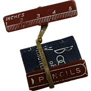 """""""School Days"""" Wood and Plastic Brooch with the Book of Knowledge"""