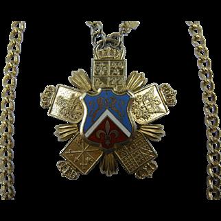 Huge Ornate Heraldic Pendant Necklace