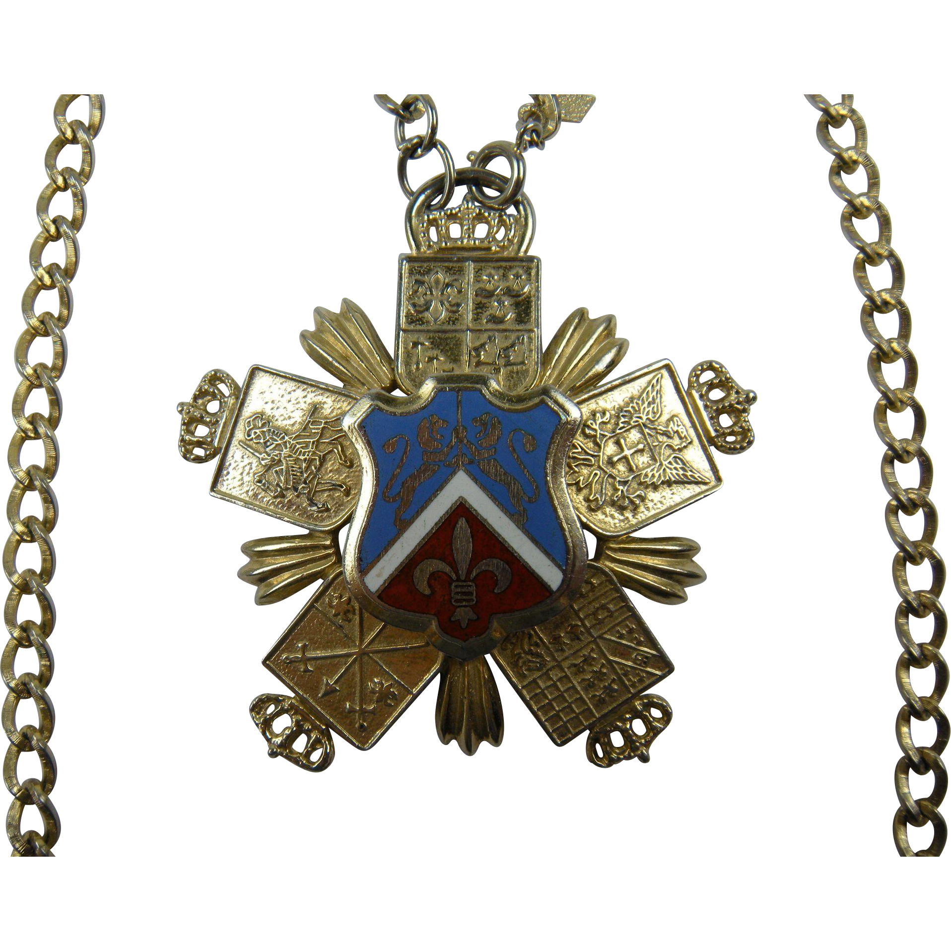 Huge Ornate Heraldic Pendant Necklace