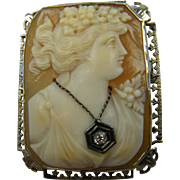 1920's 14K Habille Cameo Brooch Pendant with Diamond