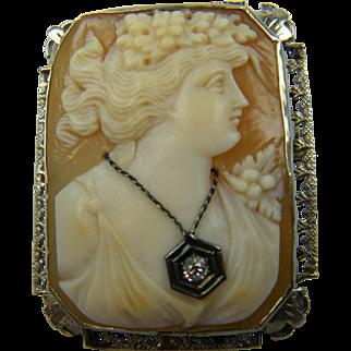 1920's 14K Habille Cameo Brooch Pendant with Diamond