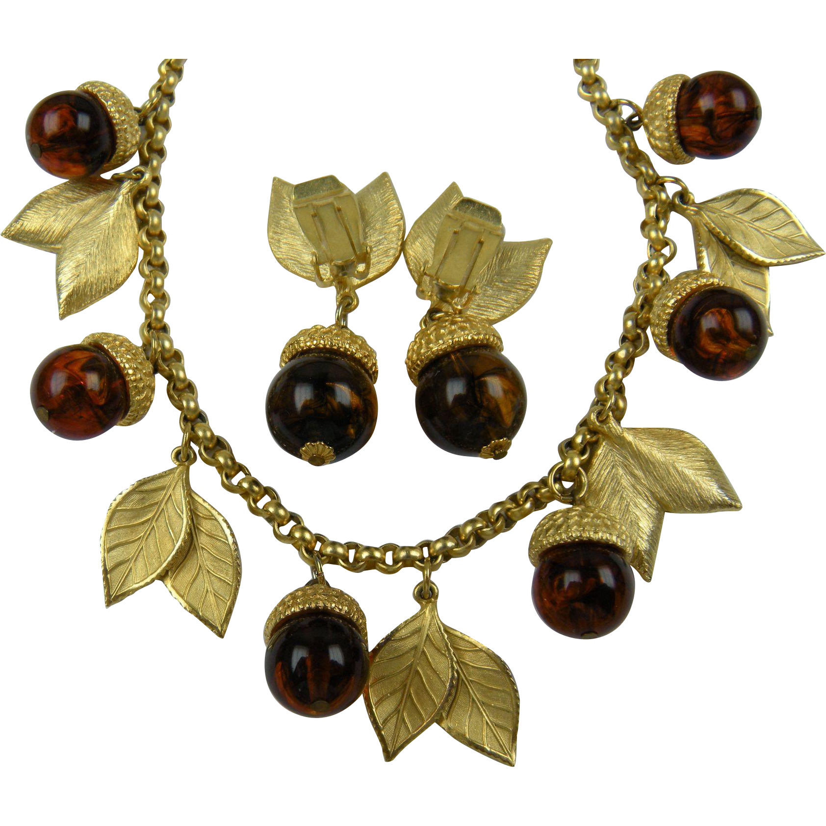 Gold Plated Acorn Necklace with Matching Clip Earrings Demi Parure