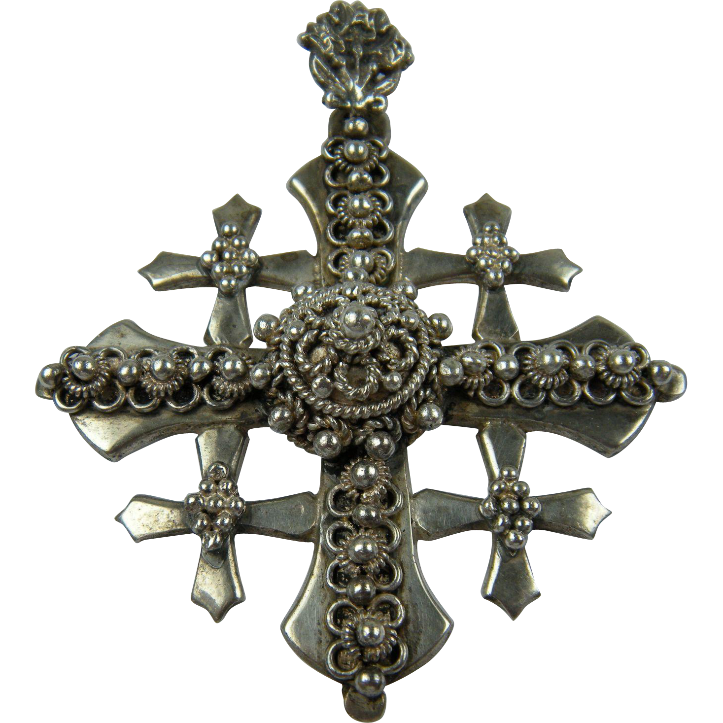 Ornate and Huge Sterling Silver Jerusalem Cross