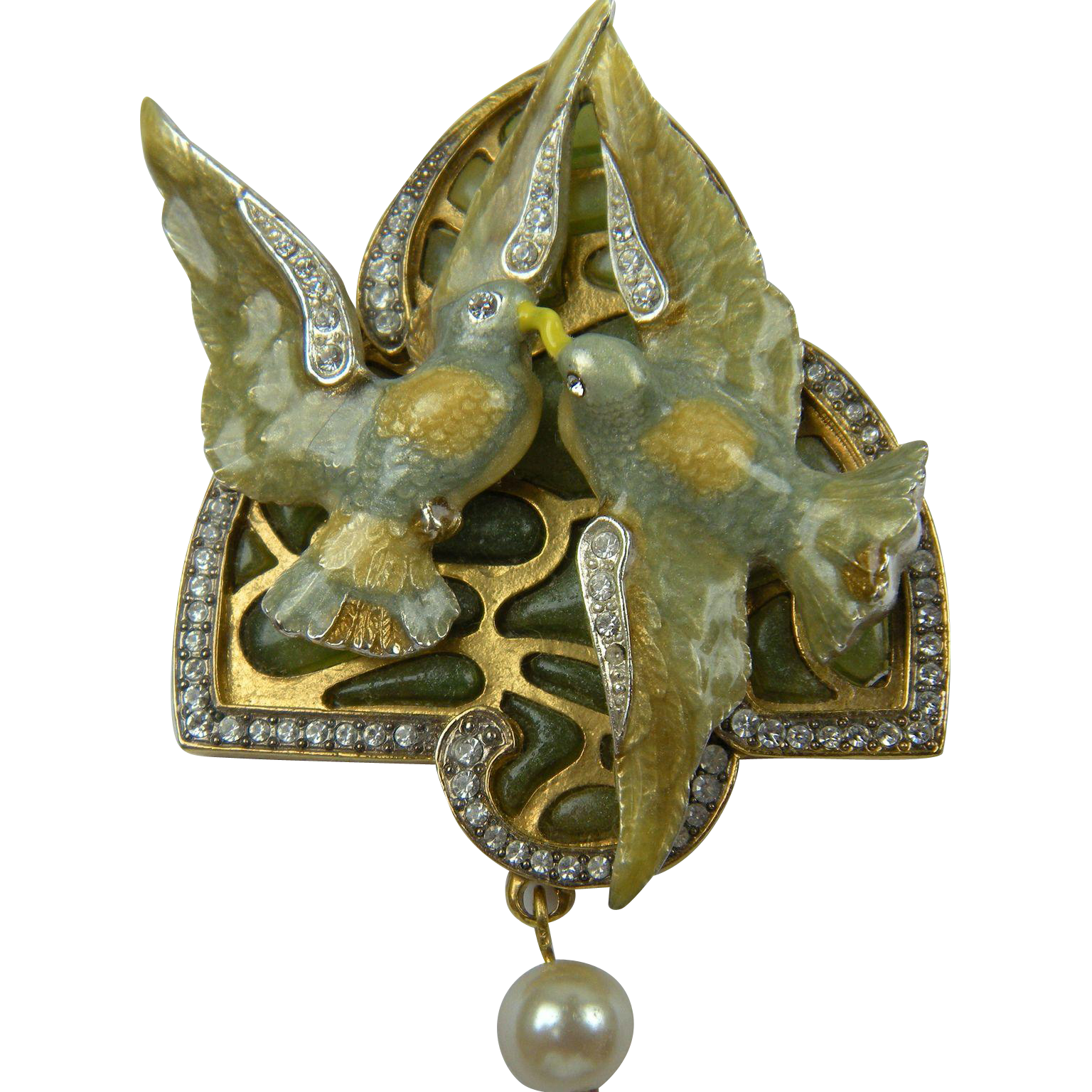 Sweet Turtle Doves Brooch