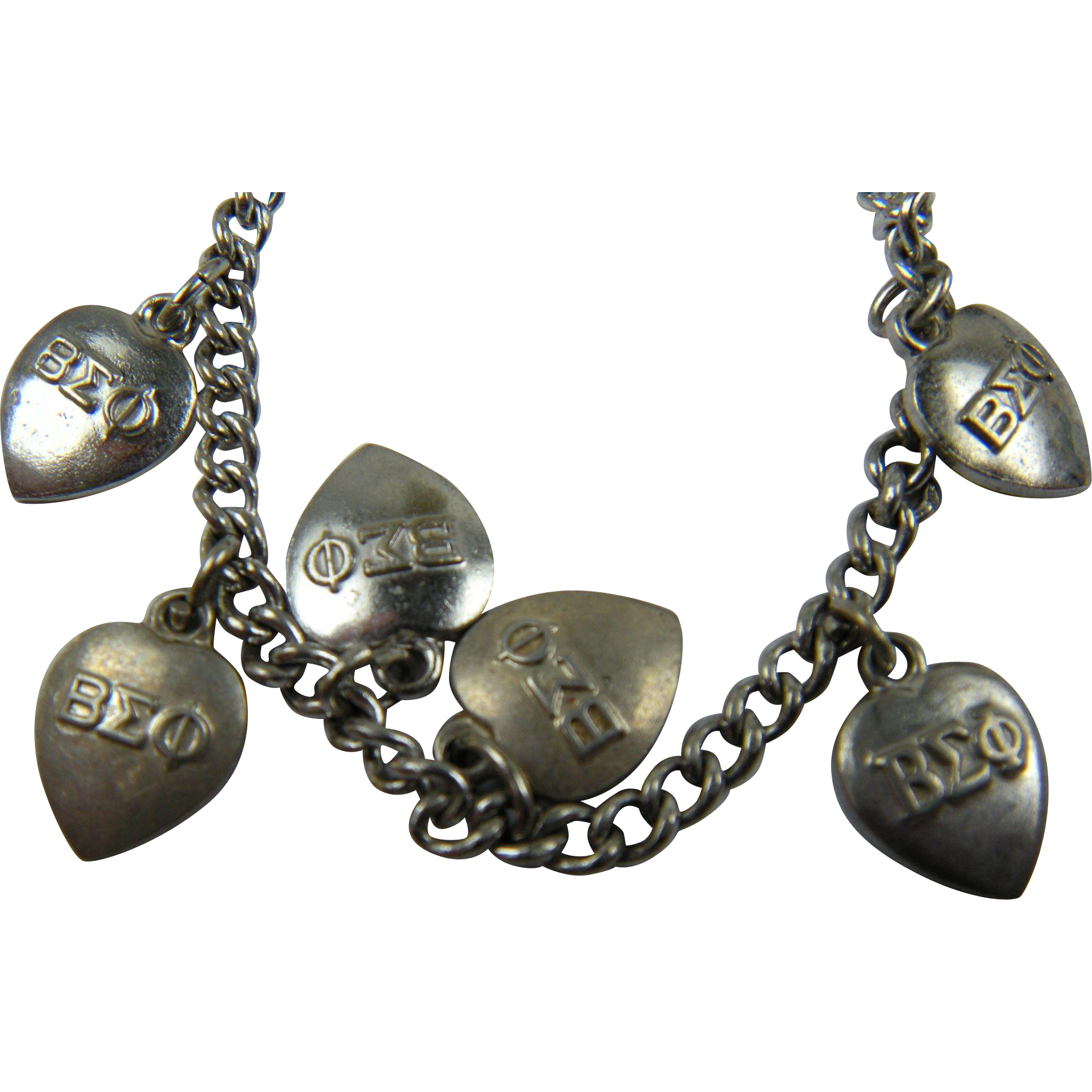 Beta Sigma Phi Sorority Sterling Charm Bracelet
