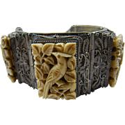 Vintage Chinese Import Bracelet with Carved Panels Marked Sterling