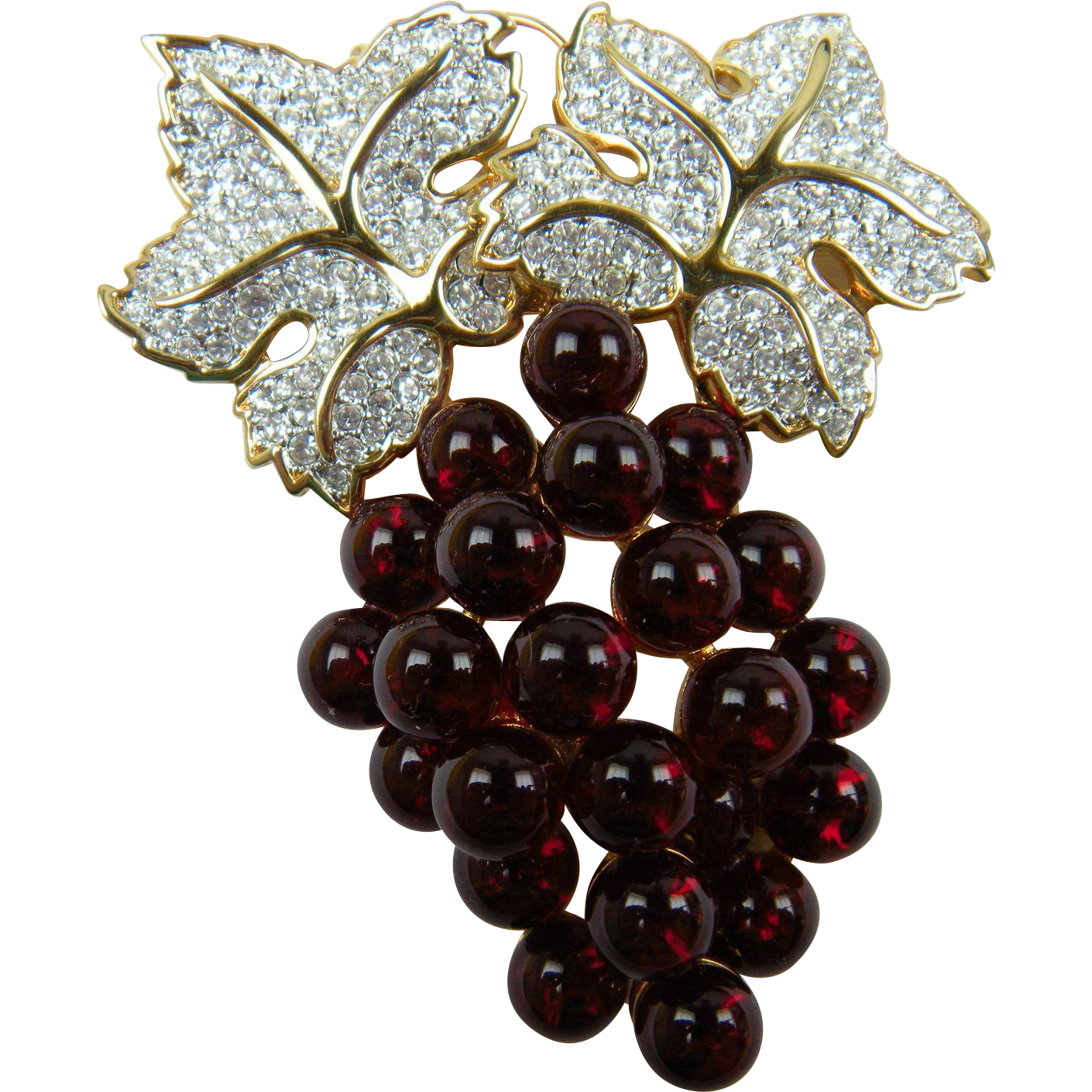 Huge Signed Swarovski (Swan Logo) Brooch with Glass Grapes and Pave' Rhinestones