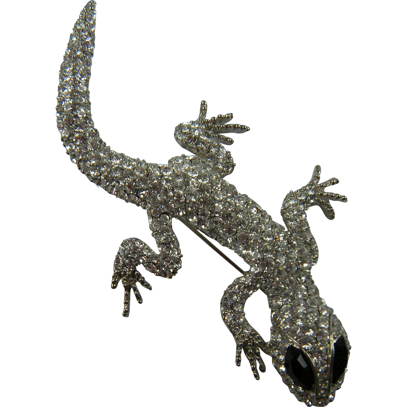 Sparkly Jeweled Salamander Brooch